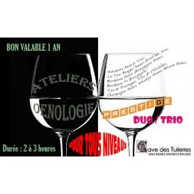 ATELIERS ŒNOLOGIQUES PRESTIGE -offre duo/trio-