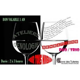 ATELIERS ŒNOLOGIQUES SENSATIONS Duo/Trio