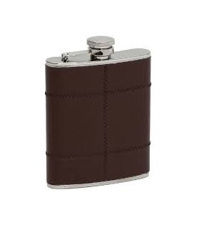 FLASQUE CUIR MARRON COUSU  INOX17CL