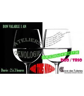 ATELIERS ŒNOLOGIQUES DÉCOUVERTE duo/trio