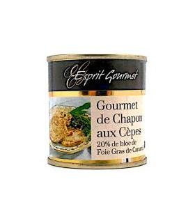 GOURMET DE CHAPON AU FOIE GRAS ET AUX CEPES BOITE 100G